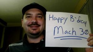 J. Simmons wishing Mach 30 a Happy Birthday